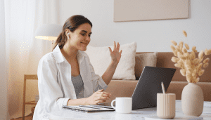 woman conducting video chat